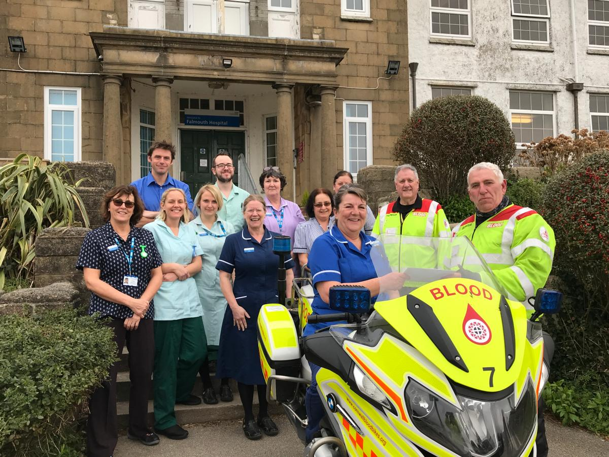 Falmouth Hospital generously donate to Cornwall Blood Bikes